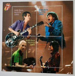 Briefmarke Österreich Rolling Stones Block Charlie Watts Mick Jagger 2003