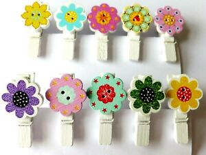16 Pcs Mini Wooden Pegs with Flowers, Photo Clips, Wedding Decor, Craft 35mm. UK