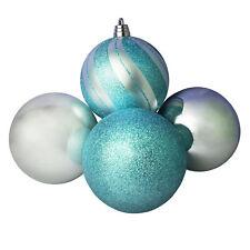 Christmas Tree Decoration - 4 Pack 150mm Baubles - Glaçon Blue