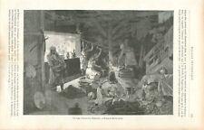Forgeron Forge Verhnee Kazanische Daghestan Caucase Russie  GRAVURE PRINT 1888