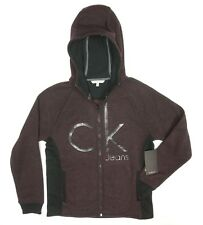 NEW CALVIN KLEIN JEANS DK RED FUDGE KNITTED CK FLEECE HOODIE THICK SWEATER SZ L