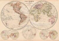 WORLD IN HEMISPHERES. Equatorial Antarctic London planes. BLACKIE 1882 old map