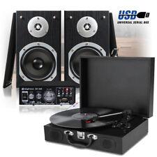 USB LP Vinyl Record Player with Bookshelf Speakers and HIFI Amplifer 33 45 78RPM
