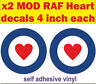 2x 4inch RAF Roundel heart stickers The Who Mod Target Scooter Vespa car decals