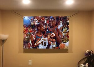 HUGE! 44x31 Shawn Kemp Gary Payton Vinyl Banner POSTER  Basketball  Oklahoma art
