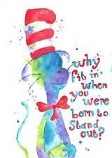 Watercolour Cat in the Hat Print dr. suess art kids art nursery art abstract art