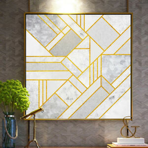 30 % OFF New Arrival! Large Abstract Modern Wall Art With Gold frame.