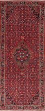 Geometric Oriental Traditional Runner Rug Wool RED Medallion Hand-Knotted 4'x11'