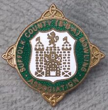 Vintage Suffolk County Bowling Club Enamel Pin Badge