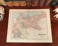 Original 1882 Antique Map Germany GERMAN EMPIRE Munich Berlin Hamburg Bavaria