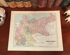 Original 1885 Antique Map Germany GERMAN EMPIRE Munich Berlin Hamburg Hanover