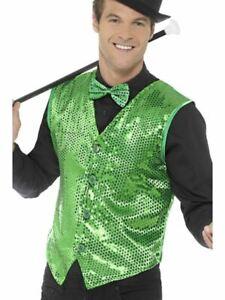 Mens Green Sequin Waistcoat, XL, Dance/Fancy Dress/Irish/St Paddys Day