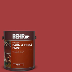 Fence Exterior Paint 1 Gallon Red Barn Livestock Safe Durable Oil Latex Adhesion