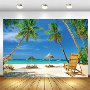 Summer Tropical Beach Backdrop Palm Trees Photo Background Party Banner Decor