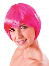 Ladies Short Neon Pink Bob Flick Wig & Fringe 80's Disco China Doll Fancy Dress