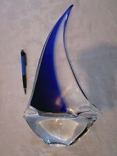 "VTG MURANO Art Glass SAILBOAT Sail Cobalt Blue & Clear Italy Nautical 14 3/4"" T"