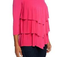 Susan Graver Size 3X Liquid Knit Chevron Tiered Top w/ 3/4 Sleeves-Carnival Pink
