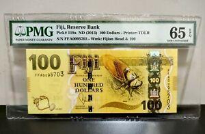 Fiji 100 Dollars 2013 Pick # 119a Gem UNC Pmg 65 Epq