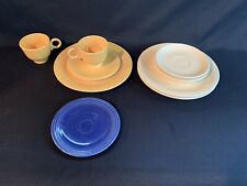 2 Fiesta Ring Mugs Fiestaware Dinnerware Yellow Coffee Cups Dishes Blue Lot
