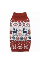 Blueberry Pet Vintage Ugly Christmas Reindeer Holiday Pullover Dog Sweater XS