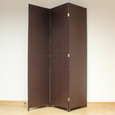 Brown 3 Panel Solid Style Wicker Room Divider Hand Made Privacy Screen/Separator