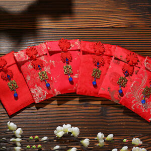 DI- PW_ Chinese Knot Red Cloth Lucky Money Packet New Year Envelope for Party We