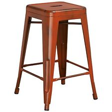 Tolix Style Industrial Metal Backless Counter Stool Distressed Antique Orange