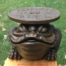 Art Deco Sculpture Golden Toad Tray Bronze Statue Bring Wealth to Family