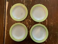 Vintage Pyrex Lime Green With Gold Trim 6.75 Inch Dessert Plate Set Of 4 U
