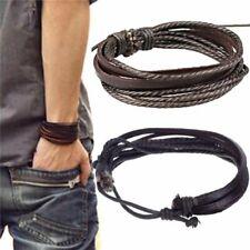 Mens Boys Handmade Leather Braided Surfer Wristband Cuff Bracelet Bangle Wrap
