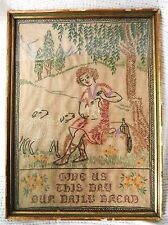 Antique Crewel Embroidery of Shepherd with Sheep, Baby Lamb, Framed, Glass