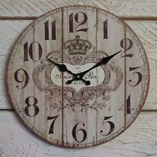 French Style Shabby Vintage Chic Wooden Wall Clock Antiques De Paris - 28cm