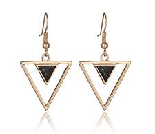 Boucles d'Oreilles Pendantes Fantaisie Doré Triangle Imitation Marbre Noir Femme