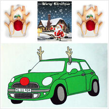Car Truck Christmas Reindeer Antlers Red Nose Decoration Cute Short Plush Funny