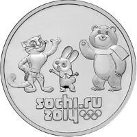 RUSSIA 2012. 25 RUBLES UNC SEALED. SOCHI 2014 MASCOTS