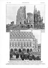 Hôtel de Ville d'Arras Capital de l'Artois Présidence Marchandeau GRAVURE 1932