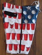 O'Neill Beer Pong Red Solo Cup American Flag Board Shorts Mens 36