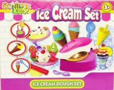 Ice Cream Play Dough Set Craft Modelling Doh Clay Rolling Pin Scoop Cones Tubs