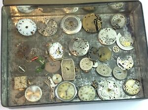Job Lot Vintage Watches Spares Repairs Parts Pieces and Movements Ship Worldwide