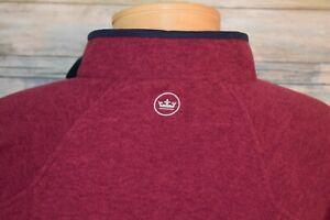PETER MILLAR Large Men's L/S 1/4 Zip Fleece Pullover Cranberry