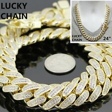 """24""""14K GOLD FINISH ICED OUT HEAVY CUBAN LINK CHAIN NECKLACE 18mm 358g"""