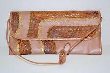 Cute Vintage Carlos Falchi Rose Pink snakeskin shoulder bag/clutch. Unique !!