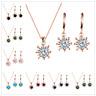 Fashion Women Flower Rhinestone Crystal Hoop Earrings Necklace Jewelry Set Gift