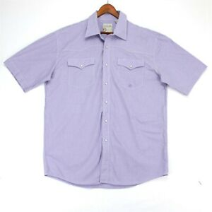 Roper Mens Western Shirt Pearl Snap Short Sleeve Button Up Size L Purple Check