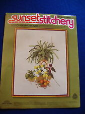 Crewel Embroidery Kit:  Boston Fern & Flowers, 16 x 20 Vintage Sunset
