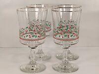 Vintage 1986 Arby's Holiday Holly Berry Stem Wine Glasses - 12 oz - Set of 4