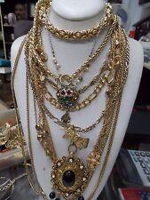 VINTAGE GOLD COSTUME NECKLACES, ENAMEL,TOGGLE,FANCY LINK, BEADS,RHINESTONE