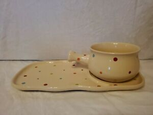 Temp-tations by Tara Ovenware Perfect Pair Soup and Sandwich Set Polka Dot Cream