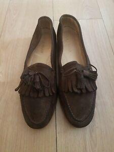 Cole Haan Mens Brown Real Suede Loafers Shoe Uk Size 12 EU 46 Heel 1.5cm