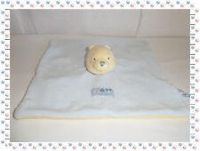 T - Doudou Semi Plat Carré Winnie Bleu Jaune  Disney Baby Nicotoy